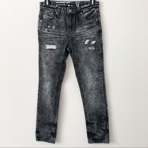 LRG Boys Black and Gray Distressed Slim Fit Jeans